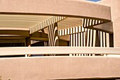 Shadow patterns and desert architectural detail of a modern building at Saguaro National Park.