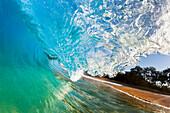 Hawaii, Maui, Makena Beach, Beautiful Wave Breaking Along Shore.