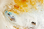Hawaii, Maui, Makena Beach, View Through Tube Of Sandy Wave.