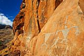 Hawaii, Maui, Olowalu, Ancient Hawaiian Petroglyphs On Rock Cliffside.