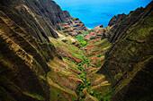 Hawaii, Kauai, Na Pali Coast State Park, Overlooking Awa'awapuhi Valley, Aerial View.