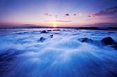 Hawaii, Maui, Makena, Dramatic Vibrant Sunset, Ocean Rushing Over Rocks