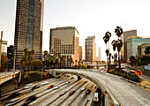 California, Los Angeles, Freeway Traffic In Downtown La At Sunset, Long Exposure