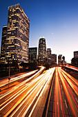 California, Los Angeles, Freeway Traffic In Downtown La At Nightfall
