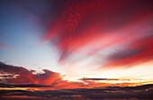 Hawaii, Oahu, Beautiful Sunset Creating Colorful Clouds.