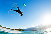 Hawaii, Maui, Professional Kiteboarder Shawn Richman Riding At Kitebeach. For Editorial Use Only.