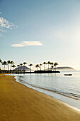 Hawaii, Oahu, Kahala Beach, Early Morning Light At An Empty Shoreline
