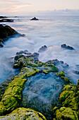 Hawaii, Big Island, Kona Coast, Kua Bay Pacific Shoreline Rock Formation.