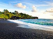 Hawaii, Maui, Hana, Waianapanapa State Park, Tropical Black Sand Beach, Long Exposure Of Waves.