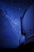 Hawaii, Big Island, Mauna Kea Summit, Keck Observatory At Night And The Milky Way, Low Light Exposure.