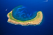 Hawaii, Maui, Molokini, Aerial Shot Of The Crescent Shaped Islet From Behind, Maui In Distance.