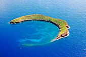Hawaii, Maui, Molokini, Aerial Shot Of The Crescent Shaped Islet.