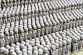 Japan, Kamakura, Hase-Dera Temple, Jizo-Do Hall, Rows Of Jizo Statues Comfort Souls Of Unborn Children.