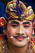 Indonesia, Bali, Batubulan Village, Barong Dance, Barong Dancer.