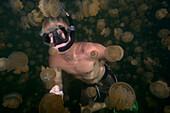 Micronesia, Palau, Free-Diver Amongst The Non-Stinging And Moon Jellyfish Of Palau's Jellyfish Lake.