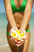 Girl Standing On Tropical Beach Holding Out Plumeria's, Torso And Hands