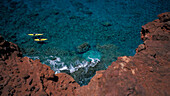 Hawaii, Lanai, View From Above Couple Kayak Near Sweetheart Rock Aka Pu'u Pehe Red Dirt Cliff Panoramic Widelux D1215