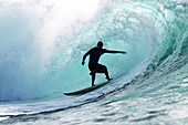 Hawaii, Oahu, North Shore, Silhouette Of A Surfer Inside The Barrel Of A Large Wave. Editorial Use Only.