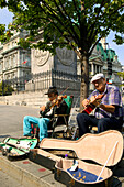 Street Musicians In Place Jacques-Cartier, Old Montreal, Quebec.