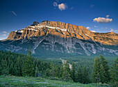 Mt Rundle And The Bow River From The Hoodoo Trail Overlook, Banff National Park, Alberta Canada.