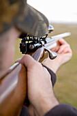 Target Shooting A Bolt-Action 22 Rifle Near Davenport, Washington.