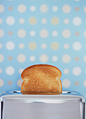 Toast In A Toaster With A Spotted Wallpaper Background