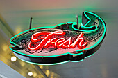Fresh Fish Neon Sign At Pike's Place Market, Seattle, Washington
