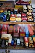 'Vintage toy cars on display; Notting Hill, London, England'