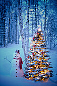 Snowman With Red Scarf And Black Top Hat Standing Next To A Christmas Tree In Snow Covered Birch Forest, Winter