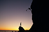 Climbers @ Sunset On Cliffs Above Turnagain Arm Sc Ak Summer