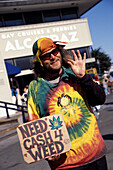 Hippy In Tie Dye Shirt Holding A Sign 'need Cash 4 Weed', San Francisco, California
