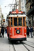 Traditional Red Tram, Istikal Caddesi, Near Taksim Square, Istanbul, Turkey