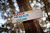 Keep the beach clean sign Turtle Beach, Goa, India.
