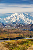 'View of Mt. McKinley and the Alaska range mountains from the trails at Eileson visitors center in Denali National Park; Alaska, United States of America'