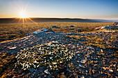 The midnight sun hovers over the horizon on summer solstice in the Utukok uplands, National Petroleum Reserve Alaska, Arctic, Alaska.