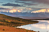Mt. Brooks and the Alaska range bordering Wonder lake and the autumn colored tundra, Denali National Park, Alaska.