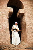'Pilgrim at the Orthodox Easter celebrations; Lalibela, Ethiopia'