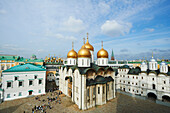'View of Palace Square, including Assumption Cathedral and Patriarch's Palaces from Ivan the Great Bell Tower in Kremlin; Moscow, Russia'