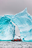'Tourists view floating iceberg, Cierva Cove, Western Antarctic Peninsula; Antarctica'