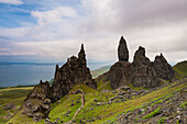 'Strange rocky outcrops of 'The Sanctuary' including the Old Man of Storr, Trotternish; Isle of Skye, Scotland'