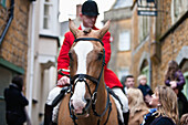 'Traditional Boxing Day Hunt at the Blackmore and Sparkford Vale Hunt in centre of Castle Cary; Somerset, England'