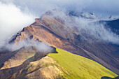 Scenic view of fog on the mountains, Denali National Park, Interior Alaska, Summer