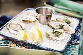 Fresh local oysters served at the Saltry Restaurant in Halibut Cove, Kachemak Bay, Southcentral Alaska.