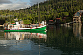Kachemak Bay Ferry vessel, the Danny J transports visitors from Homer, Alaska to The Saltry Restaurant in Halibut Cove, Kachemak Bay, Southcentral Alaska