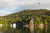Residential home on stilts in Halibut Cove, Kachemak Bay, Southcentral Alaska.