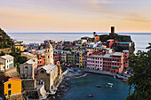 'Village of Vernazza at sunset, Cinque Terre; Vernazza, Liguria, Italy'