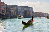 'Gondolier rows in a gondola in the grand canal; Venice, Veneto, Italy'