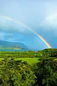 'Rainbow over hanalei bay; Kauai, Hawaii, United States of America'