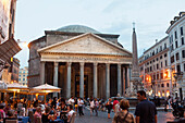 'The Pantheon in the Piazza della Rotunda, and the Fontana del Pantheon, surmounted by an Egyptian obelisk; Rome, Italy'