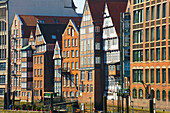 'Buildings with peaked roofs in a row; Hamburg, Germany'